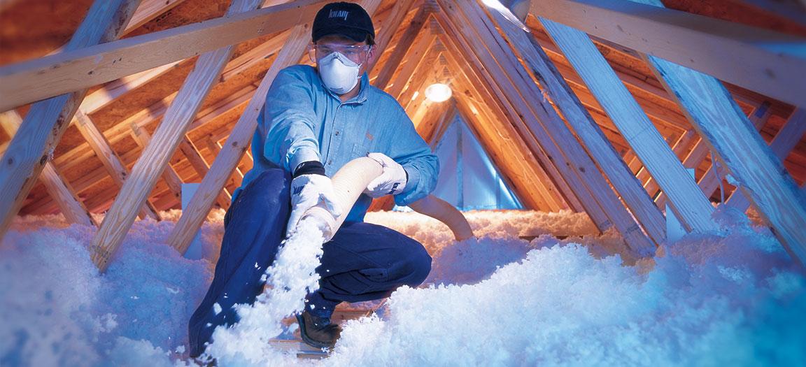 Image of Blown In Fiberglass Attic Insulation Installation