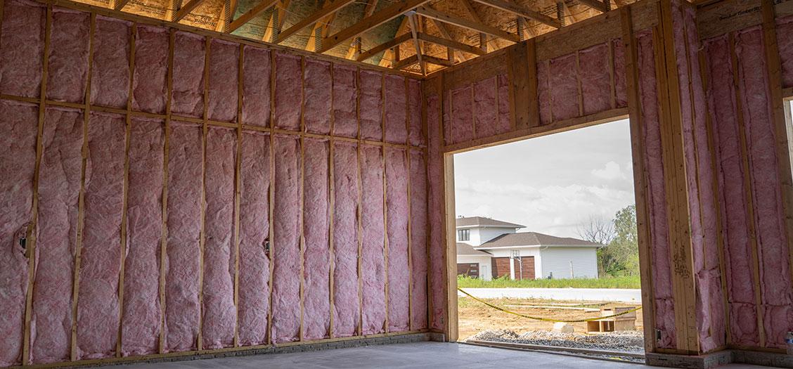 Image of Fiberglass Batt Insulation installed in a Garage